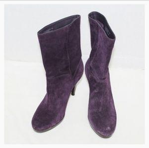Cole Haam purple suede pull on midi heel booties 7